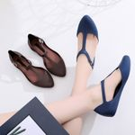 Ballet Flats Jelly T-Strap Point Toe Sandals Shallow Buckle Strap Flat shoes