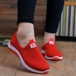Breathable air mesh sneakers slip on platform knitting Flat shoes