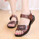 Genuine Leather For Mother Beach Shoes Hook-Loop Sandals