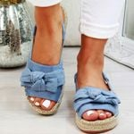 Casual Bow Tie Buckle Strap Flats Solid Color Peep Sandals