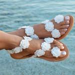 Bohemia Style Flat  Beach Flowers Flip Flops Chaussures Sandals