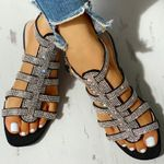 Gladiator Ankle Strap Flat Glitter Beach Buckle Rome Crystal Sandals