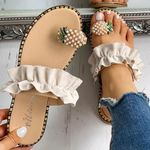 Fashion Pearl Flat Bohemian Style Casual Slippers Sandals
