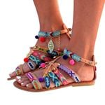 Bohemian Gladiator Leather Flats Pom-Pom Sandals