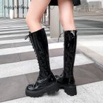 Patent leather cowhide knee high black laced up platform Boots