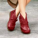 PU Ankle Spring Flat Short Brown Botas Lace Up Botas Mujer Boots