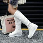 Plush Knee comfy Flat Heel Slip On Platform High Boots