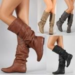 Party Design Wedge Plus Flat Long Pu Soft Leather Motorcycle Boots