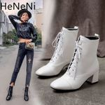 Fashion Vintage Thick heel Leather Ankle Warm Lace-up Boots
