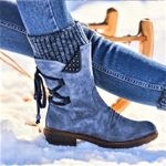 Best Quality Flat Heel Fashion Knitting Patchwork Boots
