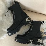 Platform  Ankle Motorcycle Fashion Chunky Metal Decor Boots