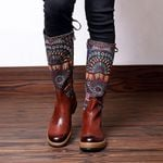 Retro Bohemian Mid Calf Genuine Leather Lace Up Boots