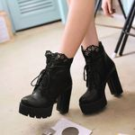 Platform Block Ankle Short Motorcycle Gothic Boots