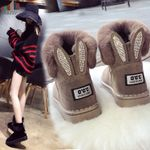 Genuine Leather Real Fox Fur Brand Warm Black Round Casual Boots