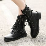 Fashion Gothic Leather Buckle Boots