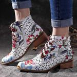New Ankle Fashion Beautiful Flower pattern Rubber Wear-resistant Boots