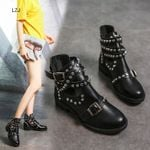Buckle Ankle PU Leather Fashion Rivet Low Heel Motorcycle Boots