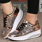 Shiny Sequins Platform Wedges Fashion Shake Glitter Sneakers & Shoes