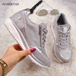 Zipper Platform Trainers Casual Lace-Up Tenis Sneakers & Shoes