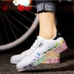Flat Lace up Colorful Graffiti Platform PU Flats Fashion Sneakers & Shoes