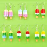 Fashion resin ice-lolly Popsicle ice cream silver drop dangle Earrings