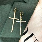 Asymmetric Cross For Fashion Pearl Crystal Dangle Earrings