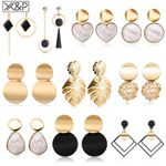 Heart Statement Drop Fashion Vintage Geometric Acrylic Earrings