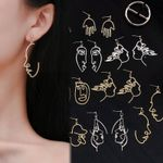 Face Drop Retro Abstract Hollow out Statement Hand Metal Earrings