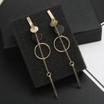 Fashion Long Slope Geometric asymmetry Rhinestone circle earrings