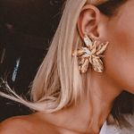 Elegance Silver Gold Big Flower Drop Dangle Trendy Metal Earrings