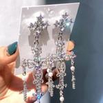 New Palace Style Luxury Crystal Cross Dangle Earrings
