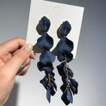 Flower Long Dangle Drop Party Big Petal Statement Jewelry Earrings