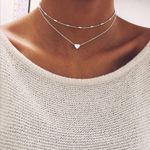 New Multi Layer Tiny Small Heart Moon Choker Necklaces