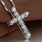 New Fashion Cross Silver Collares Jewelry Crystal Pendants Necklaces