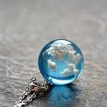 Transparent Resin Rould Ball Moon Pendant Fashion Jewelry Necklaces