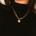Layered Chain Punk Jewelry Padlock Pendant Necklaces