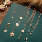 Bohemian Multi Layered Vintage Portrait Coin Star Pendant Necklaces