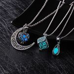 Glow In The Dark Moon Square Heart Hollow Water Drop Pendant Necklaces