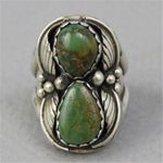 Vintage Tribal Turquoises Stone Ethnic Carved Metal Leaf Rings