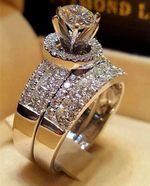 Luxury Crystal Set Fashion Promise Love Engagement Rings