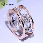 Exquisite Flower Fashion Rose Gold Color Jewelry Luxury Cubic Rings