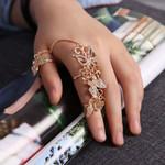 Rhinestone Flower Butterfly Full Finger Gold Chain Rings