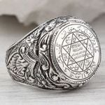 Antique Silver Carved Arabic Pentagram Star Pattern Knuckle Rings