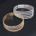 Elegant Clear Rhinestone Gold Color Crystal Bracelets & Bangles