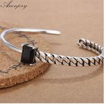 Sterling Silver Jewelry Tricolor Zircon Irregular Bracelets & Bangles