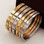Beautiful Lovers Stainless Steel Cubic Zirconia Golden Bracelets & Bangles