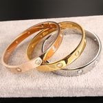 Fashion Open Cuff Design Stainless Steel Crystal Bracelets & Bangles