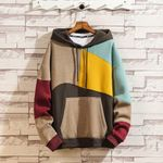 Fashion Pocket Sweatshirt Casual Patchwork Pullover Hoodies