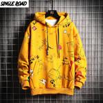 Fleece Graffiti Sweatshirt Hip Hop Streetwear Hoodies