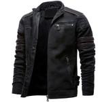 Casual Leather Jacket Inner Fleece Cargo Coat PU Leather Jackets